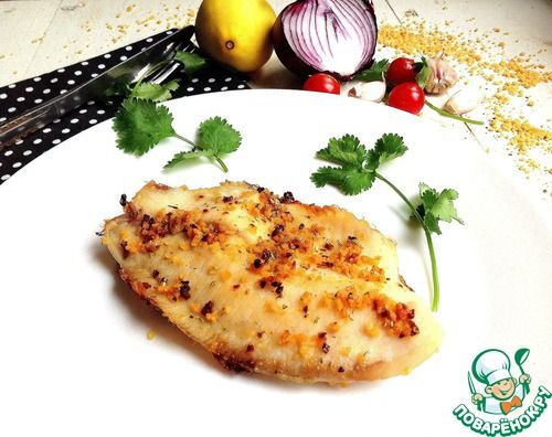 """""""Запеченное филе рыбы """"Соблазн"""""""":  Филе рыбное (У меня пангасиус) —1 штМасло оливковое —1 ч. л.Сок лимонный —1 ч. л.Помидор (Сухие или вяленые, щепотка)Паприка сладкая (Щепотка)Специи (По вкусу: белый молотый перец, соль)Сухари панировочные —1 ч. л.Розмарин (Щепотка)"""