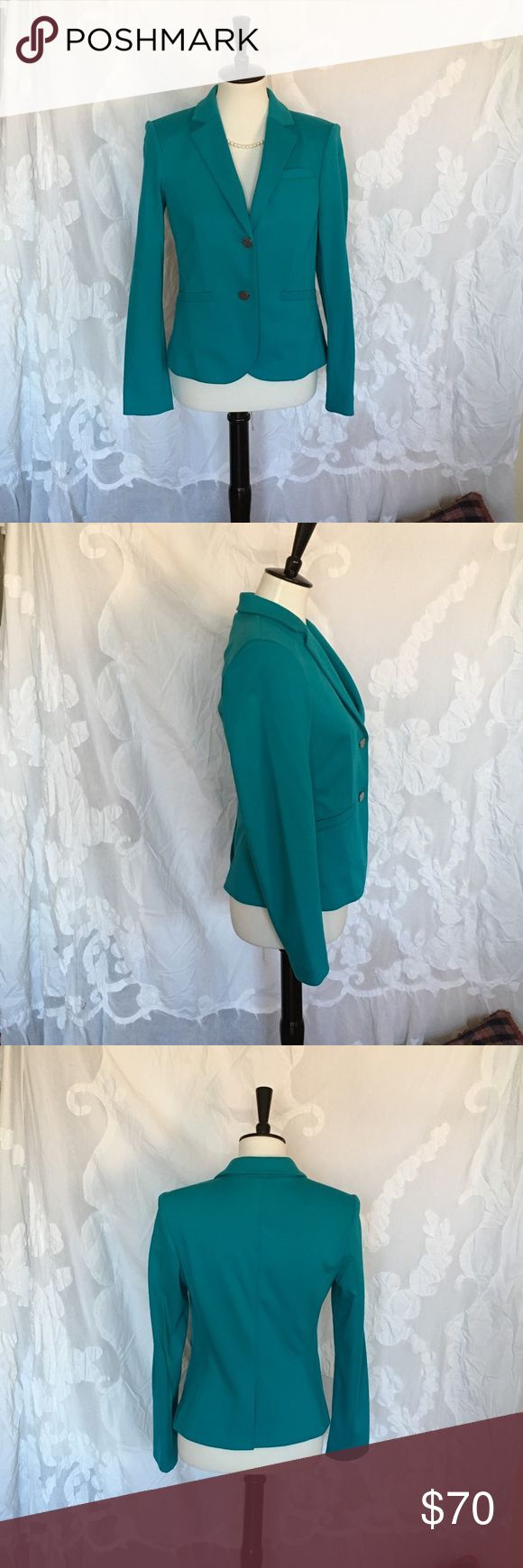 CK turquoise blazer pop of colour! size 8 My offering is for a beautiful CK blazer. Purchased with mom on a whim. Like new condition. Size 8. One button has some scratches (in photo) Otherwise, no flaws. It's so cheery and would add a pop of colour to your outfit! Calvin Klein Jackets & Coats Blazers