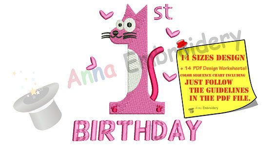 First Birthday Embroidery Design-Happy Birthday-Kids