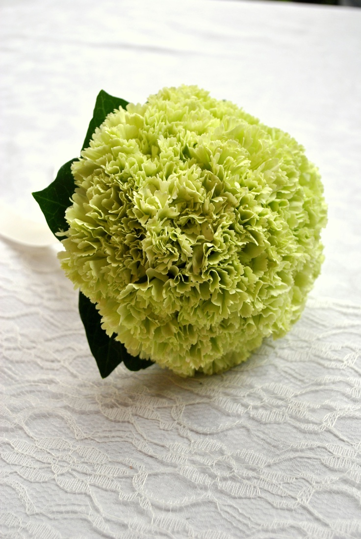 Bridesmaid's green carnation bouquet - from Laurel Weddings (Uno green)