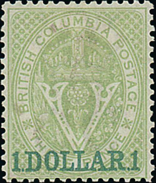 """British Columbia and Vancouver, SG 33, British Columbia. 1868-71 perf. 14, $1 on 3d. green, trace of gum, tiny natural paper inclusion between """"o"""" and """"l"""" of """"columbia"""", otherwise fine. Raybaudi Certificate (1993). S.G. 33, £1,100. Photo (Estimate 300 - 400)"""