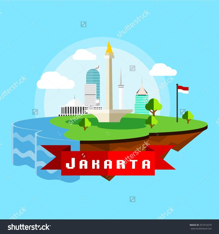 Jakarta City Scape In Flat Style, Depicting National Monument In Front Of Istiqlal National Mosque, Wisma 46 Building, And Indonesian Flag Stock Vector Illustration 357410270 : Shutterstock