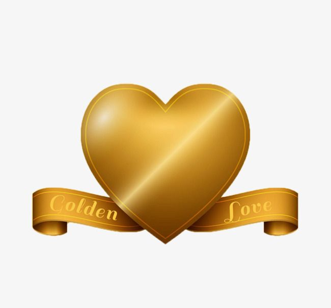 Gold Decorative Pattern Love Love Golden Heart Shaped Elements Png Image Birthday Cake Topper Printable Png Images Vector Free