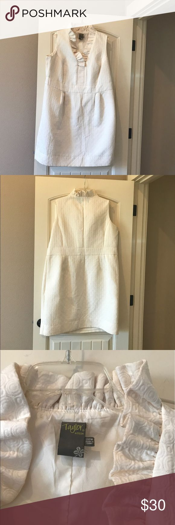 "Lord N Taylor 20W Woman's Dress Clothes Stunning dress. True to size. Taylor by Lord and Taylor. Woe to a couple of weddings. Will need to be cleaned. No stains. 41"" long. 24 inches across the front chest area; so if you double that you get 48 inches. It's off white Lord & Taylor Dresses"