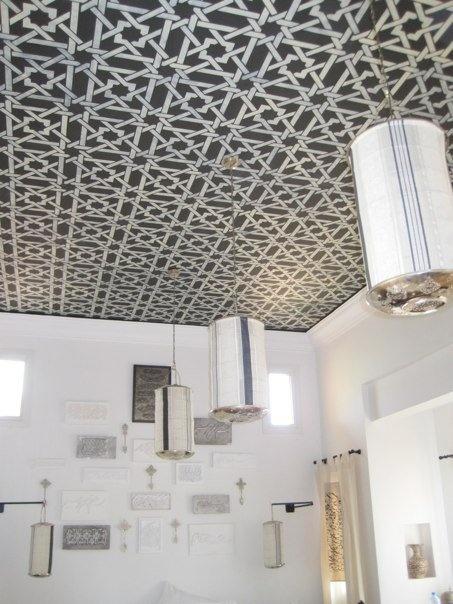peacock pavillions :: marrakech {bedroom suite ceiling stencil detail}