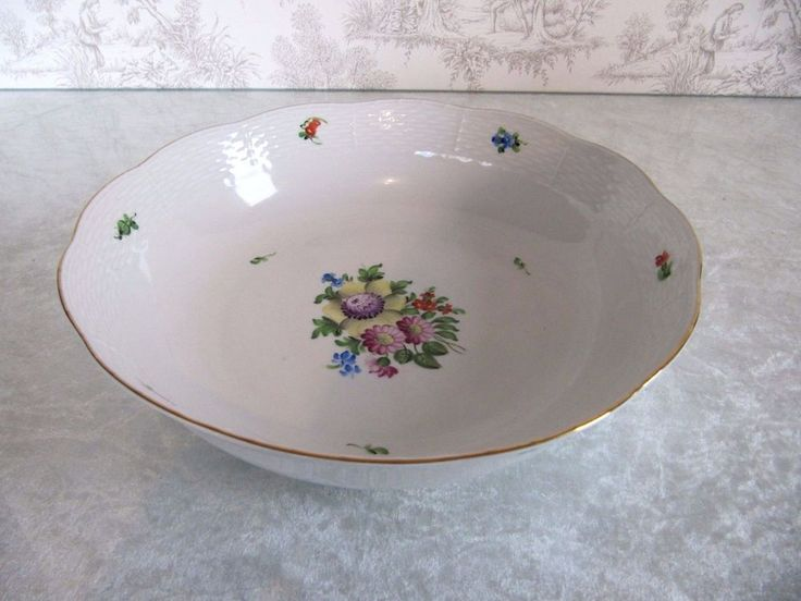 Old Mark Herend Hungary VB Floral Hand Painted Serving Dish Bowl 80 10.5""