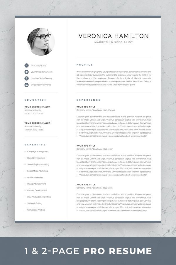 Professional Resume Template Resume with Photo 1  2 Page Resume