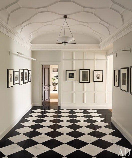 Black And White Floor Stunning Plasterwork Ceiling