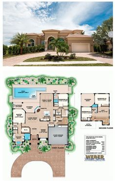 The two-story house plan, Banyan Cove, is a transitional Mediterranean style with arched entry and windows, and barrel tile roof. The 4 bedroom, 3-bath floor plan has a traditional formal living room with a formal dining room. It also has an open-concept island kitchen and large family room that transitions seamlessly to the outdoors and beach views beyond via two large walls of pocketing glass doors. More Beach House Plans…