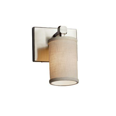 Justice Design Group Textile 1-Light Armed Sconce Finish: Polished Chrome, Shade Color: Cream