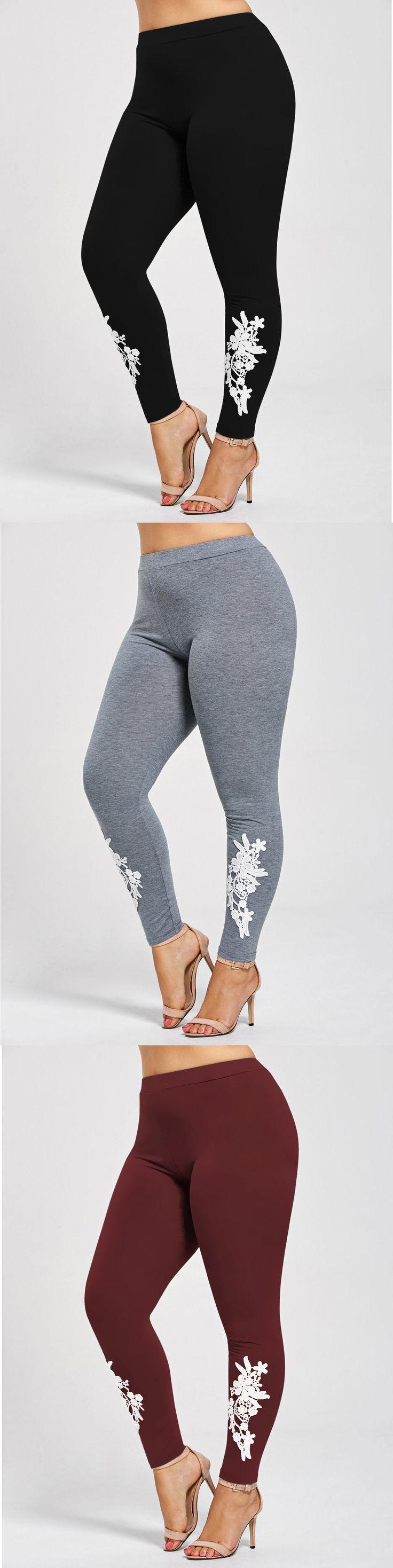 Plus Size Appliqued Jersey Leggings 2
