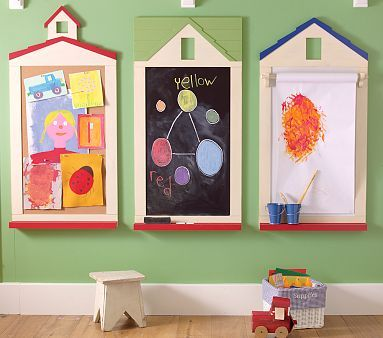play room idea: Playrooms Ideas, Art Station, Chalkboards, Kids Stuff, Plays Rooms, Corks Boards, Pottery Barns, Art Wall, Kids Rooms