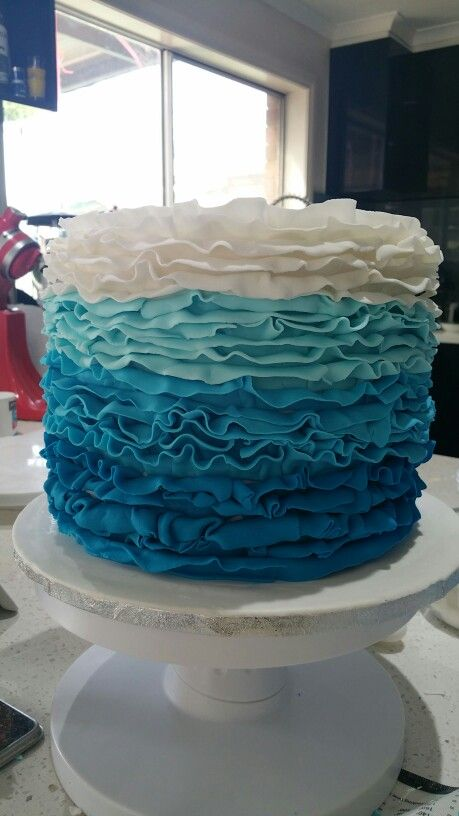Blue ombre ruffle cake. @ Two Cute Chefs