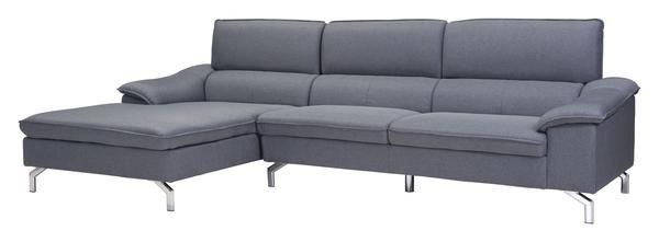 Ephemeral Left Hand Facing Sectional Sofa in Gray Poly Linen