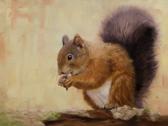 Snacker. Original medium size squirrel painting. by ArtwaveStudio