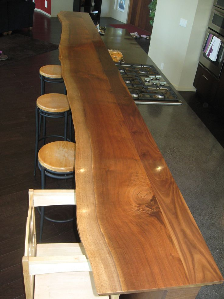 14 Foot Long Live Edge Walnut Bar Constructed By Barbo