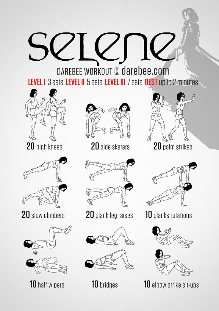 Selene Workout - Battling vampires and werewolves requires more than just average physical skills which is why the Selene workout requires more than average willpower to get through. As long as you remember not to workout in tight leather gear you will find that this is the kind of workout that really helps take you up a level or two.