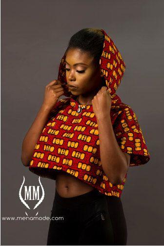 Mena Mode Ankara Crop Top Hoodie in African Fabric by MenaMode