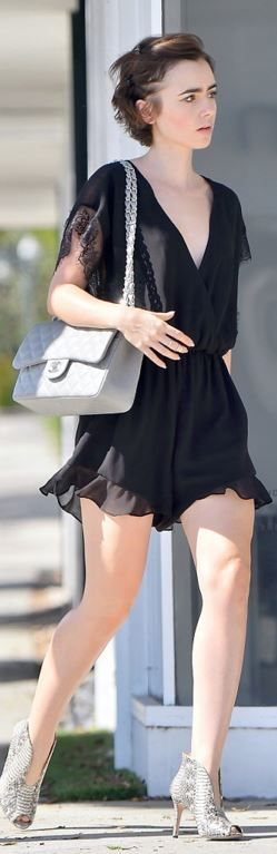 Who made Lily Collins' gray handbag and black lace romper?
