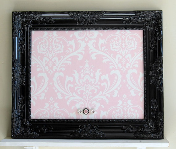 Decorative Magnetic Memo Board Shabby Chic Pink Damask