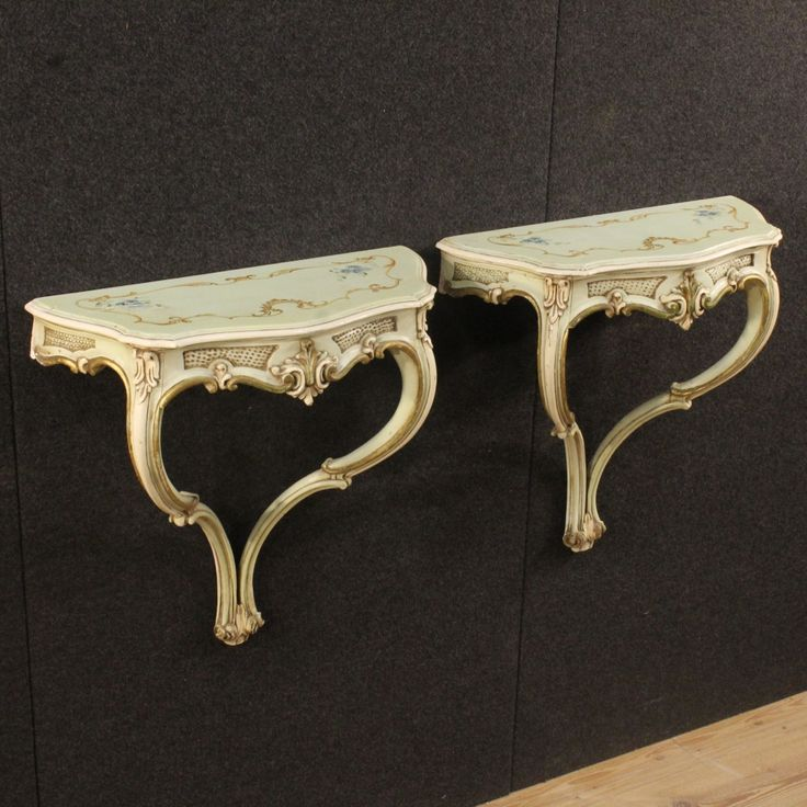 680€ Pair of lacquered, golden and painted Venetian console tables. Visit our website www.parino.it #antiques #antiquariato #furniture #lacquer #antiquities #antiquario #console #table #tavolo #decorative #lacquer #lacquered #interiordesign #homedecoration #antiqueshop #antiquestore #gold #golden #gilt #gilding