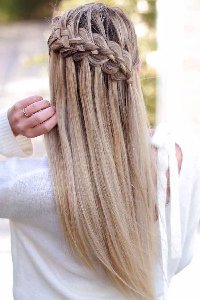 Blonde Hair Waterfall Braids How To Do A French Braid White Sweater In 2020 Braided Hairstyles Hair Styles French Braid Hairstyles