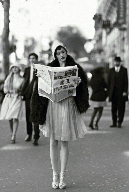 A French Flapper Reads the Newspaper