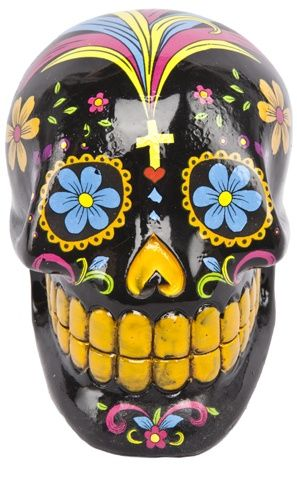 SUGAR SKULL COIN BANK BLACK Heres A Knick Knack That Will Help You Save Your Change This Black Poly Resin Sugar Skull Bank Features Colorful Day Of The