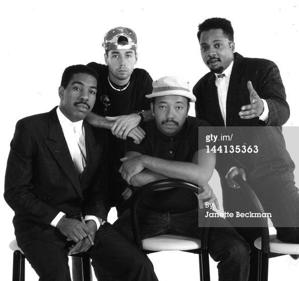 Def Jam Artists   Oran Juice Jones, Adam Yauch (1964 - 2012) of the Beastie Boys, Russell Simmons and Chuck Stanley.