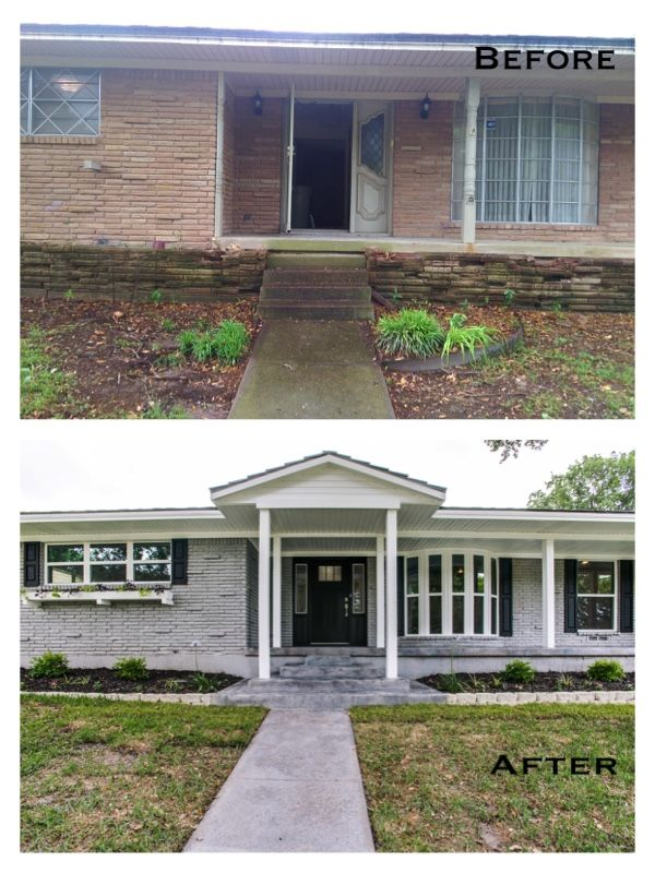 1960's ranch style modern home. Gable added. Gray brick. Black shutters. Bay
