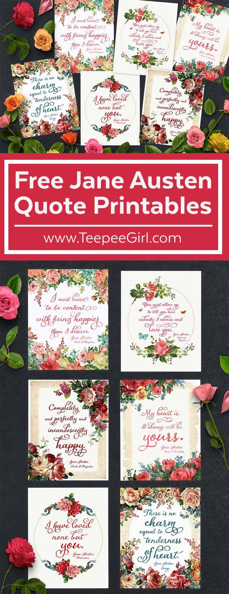 These 6 FREE printables all feature beloved (and romantic!) quotes from Jane Austen! They are perfect for Valentines' Day, bridal showers, and any other celebration of love and romance! Click here to get these free printable quotes! www.TeepeeGirl.com