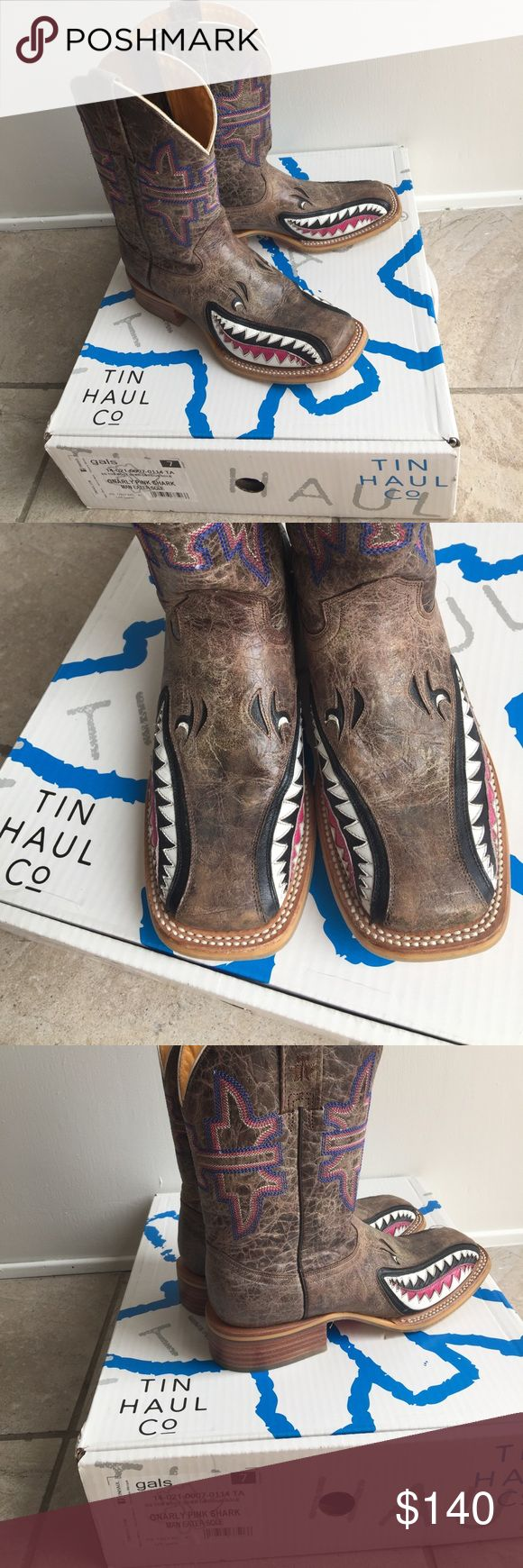 Women's Tin Haul Co cowboy boots Tin Haul Gnarly Pink Shark Man Eater Sole size 7 Tin Haul Co Shoes Heeled Boots
