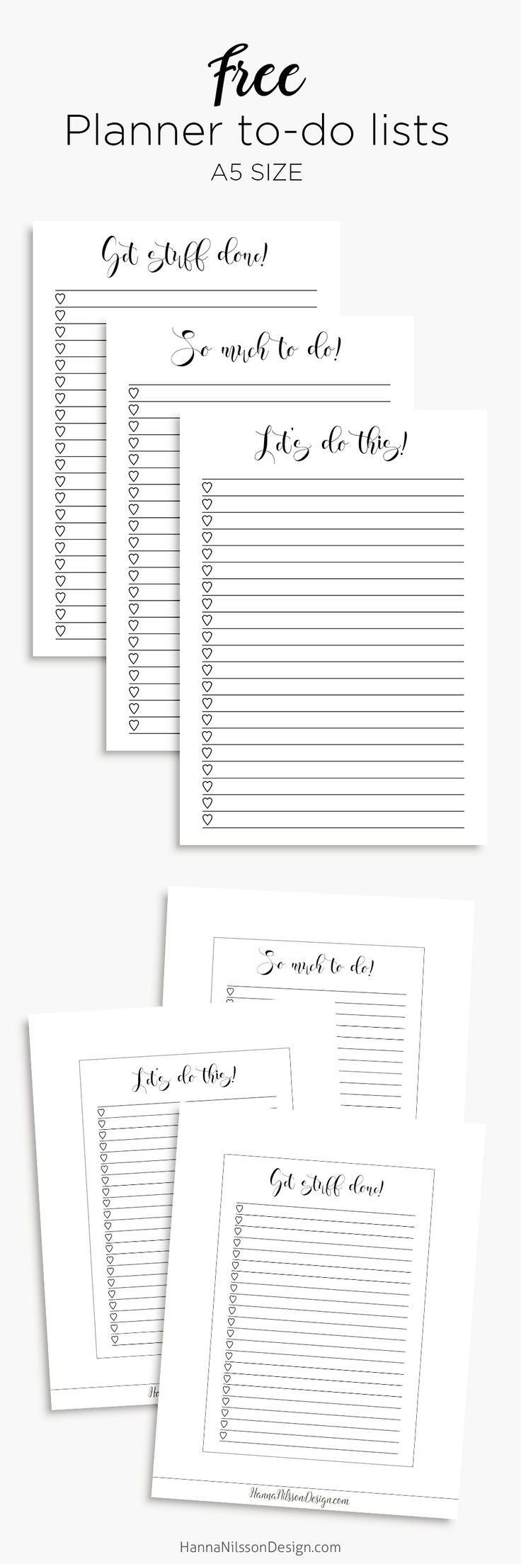 Free Printable Planner To Do Lists {in A5 and Personal size} from Hanna Nilsson Design {newsletter subscription required}