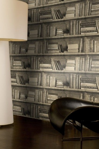 Bookshelf wallpaper - Sepia bookshelf wallpaper by Young & Battaglia by Studiomold at Bouf.com
