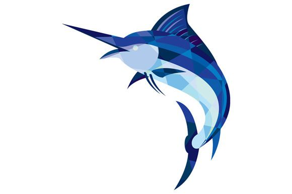 Blue Marlin Fish Jumping Low Polygon - Illustrations - 1