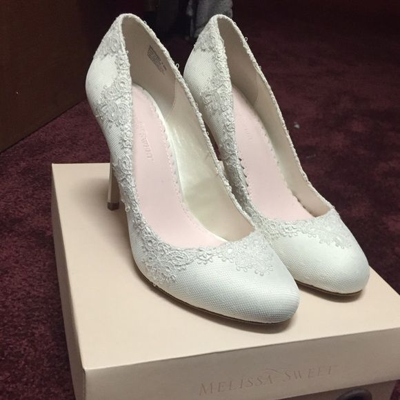 David's Bridal Wedding Heels  Like new with box. Only worn once for exactly 2 hours. Outside is covered with a delicate white lace. Amazing condition and so beautiful! Please no low ball offers! David's Bridal Shoes Heels
