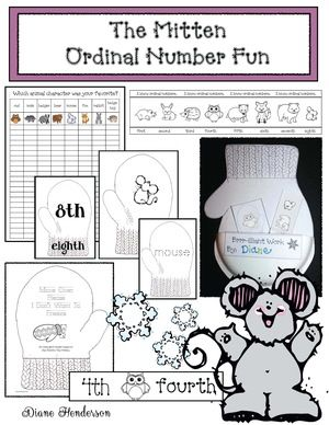 Mitten activities: Adorable paper plate mitten pocket craft. Students tuck all of their ordinal number fun based on Jan Brett's The Mitten in the pocket.  Too cute! :-)