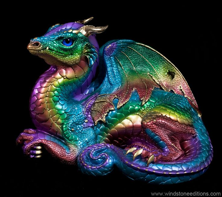 Old Warrior Dragon - Rainbow- Fantasy Statue Here is my favorite Old Warrior tomcat painted in rainbow! He doesn't mind too much. Limited production, unsigned. This was introduced in 2008 and restocked December 2014. $325.00 #dragon #rainbow #figurine