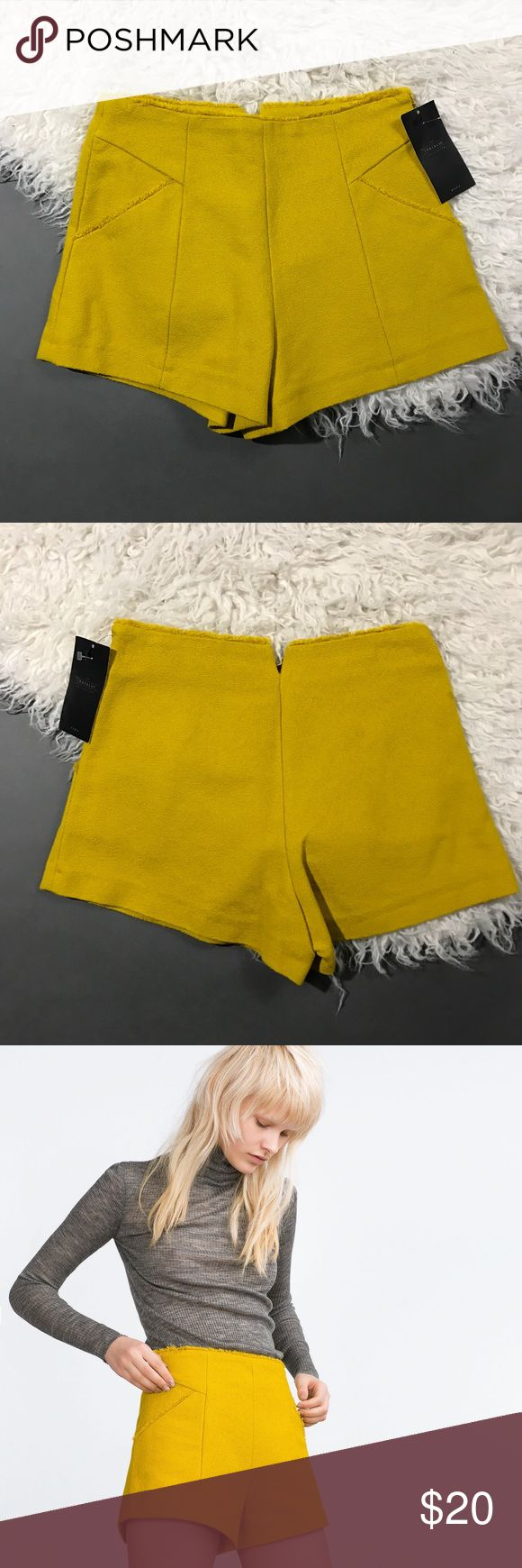 ZARA Woman Yellow Hotpants Short Shorts Size- Small New with tags. Zara Shorts