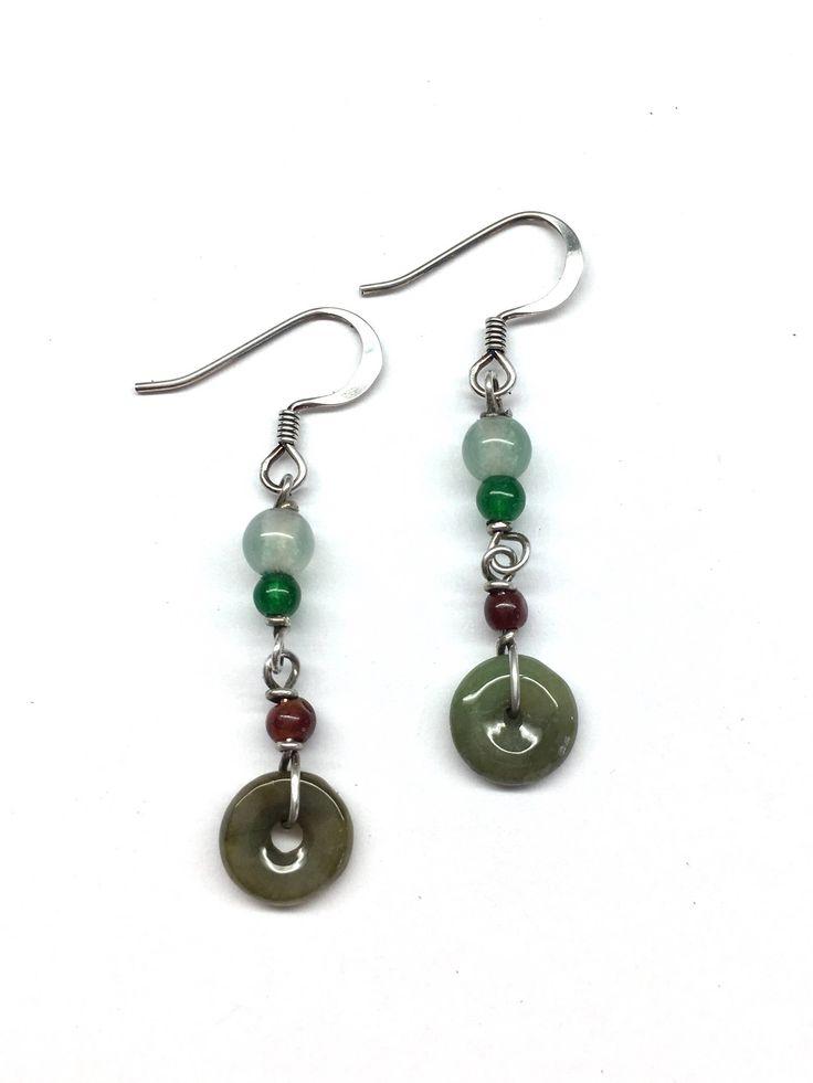 Jade Earrings, Jade Disc Earrings, Dark Green Jade Disc Chinese Safety Buckle (平安扣) and Green Agate Bead, Jade Bead Sterling Silver Earrings by RitaCollection on Etsy