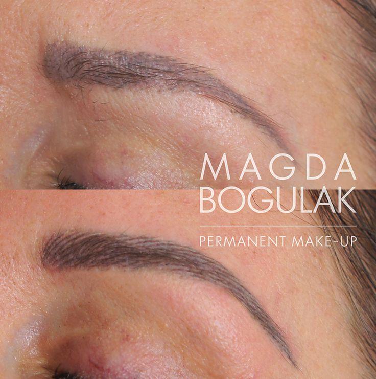Korekta makijażu brwi po innym salonie. Stan brwi po pierwszej korekcie. Zmieniliśmy metodę na włoskową i zakamuflowaliśmy stary, brzydki cień na skórze.