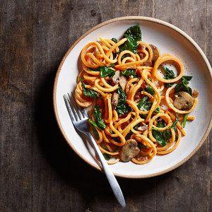 Sweet Potato Carbonara with Spinach & Mushrooms
