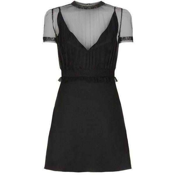Valentino Plissé Tulle Mini Dress ($2,615) ❤ liked on Polyvore featuring dresses, little black dress, cocktail dresses, plunging neckline cocktail dress, tulle cocktail dress and short slip