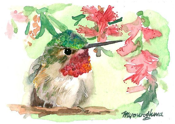 ACEO Limited Edition of 25 prints-  ~A Fowl Gang of Five, Humming Bird Sage ~