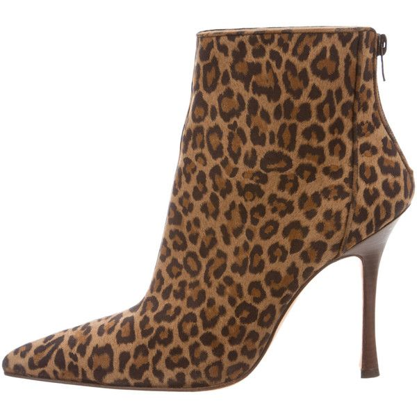 Pre-owned Manolo Blahnik Pointed-Toe Leopard Ankle Boots (12.445 RUB) ❤ liked on Polyvore featuring shoes, boots, ankle booties, animal print, brown ankle booties, leopard booties, high heel stilettos, brown booties and zip ankle boots