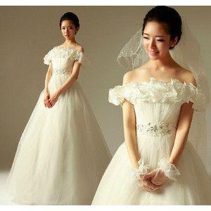 ウェディングドレス、二次会、ロングドレス、ウエディングドレス、オフショルダー、プリンセス、エレガントhs233