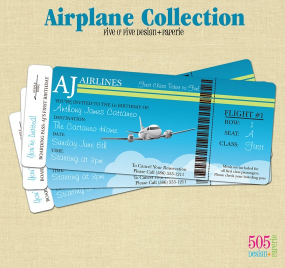 Airplane Ticket Boarding Pass Birthday Invitation: Airplane Party - Natalie's 2nd By Kangaroo