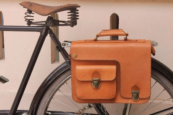 Handmade natural traditional veg tanned leather bicycle rear pannier/rear rack/ messenger bag