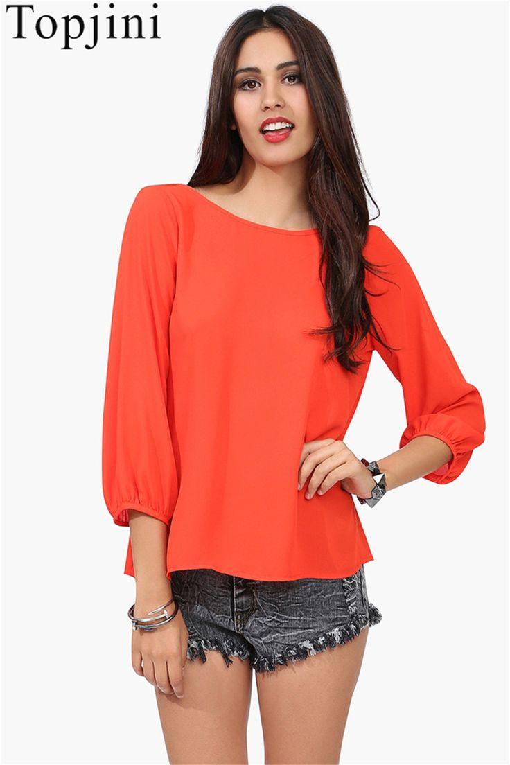 Topjini fashion women blouse 2017 spring long sleeve bow chiffon shirts loose tops big discount plus size lady blouse shirts