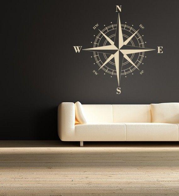 Compass Rose Nautical Wall Decal: Compass Wall, Decor, Ideas, Living Room, House, Nautical Vinyl, Vinyl Wall Decals, Compass Rose